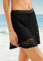 Czarna damska spódnica kąpielowa z elastyczną koronką