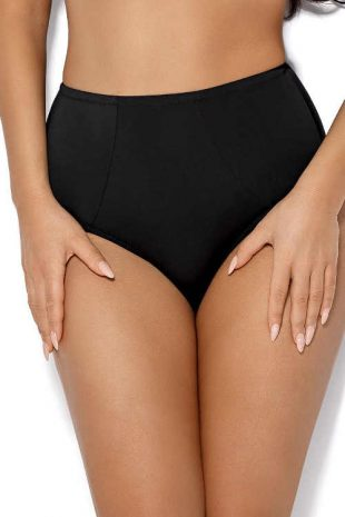 Czarne figi kąpielowe z wysoką talią dla kobiet