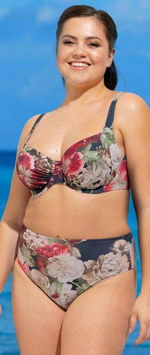Damski dwuczęściowy kostium kąpielowy odpowiedni dla osób o pełnych kształtach Rosme Florea