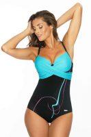 Jednoczęściowy kostium kąpielowy z efektownym skrzyżowaniem i delikatnym wzorem.