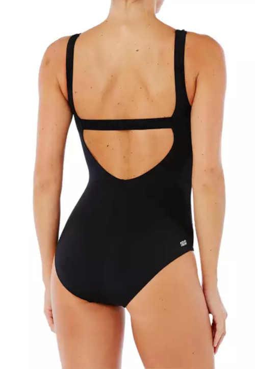 Sportowy jednoczęściowy kostium kąpielowy z wycięciem w kształcie litery H na plecach