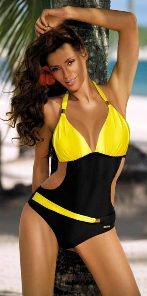 Czarno-żółty jednoczęściowy kostium kąpielowy z wiązaniem na szyi