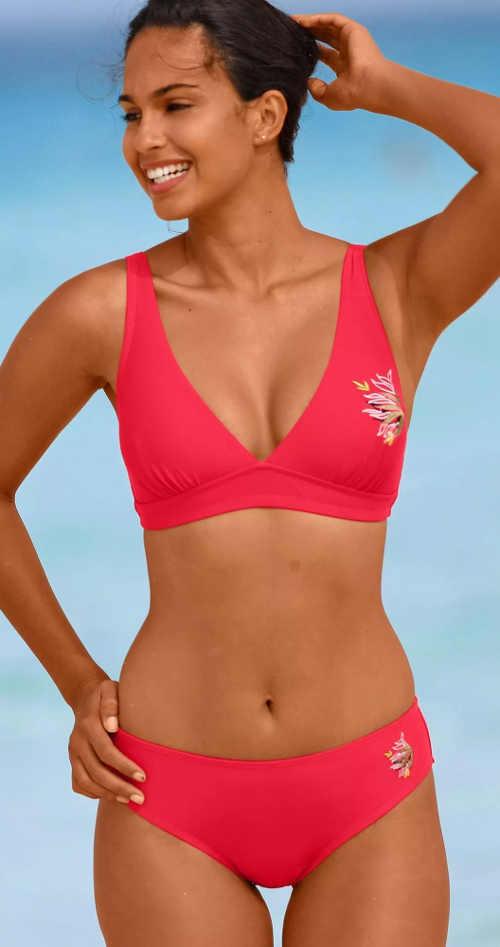 Czerwony damski dwuczęściowy kostium kąpielowy dla grubszych sylwetek wyprzedaż