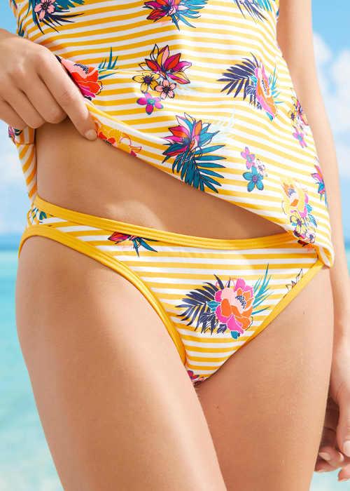Damskie majtki kąpielowe w paski żółto-białe