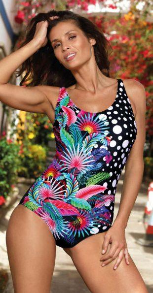 Egzotyczny damski jednoczęściowy kostium kąpielowy dla pełniejszych kształtów