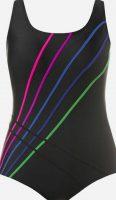 Jednoczęściowy, czarny kostium kąpielowy ozdobiony kolorowymi paskami