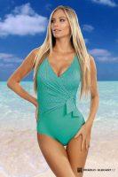 Jednoczęściowy kostium kąpielowy w kolorze zielonym z efektem wyszczuplającym