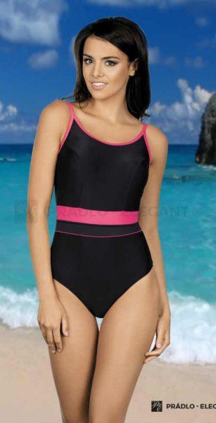 Jednoczęściowy sportowy kostium kąpielowy w wyrafinowanym kroju i kombinacji kolorów.
