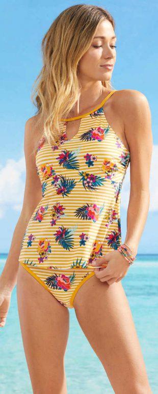 Wesoły żółty dwuczęściowy kostium kąpielowy damski w paski, zakrywający brzuch