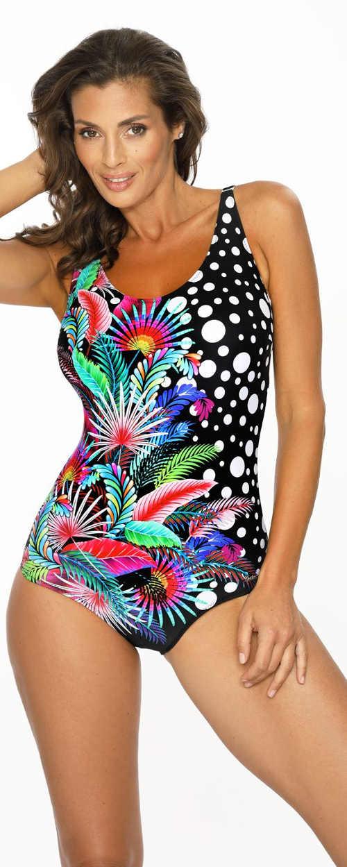 Wielokolorowe jednoczęściowe kostiumy kąpielowe doskonale maskują niedoskonałości figury.