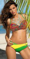 Wielokolorowy kostium kąpielowy damski typu bardotka