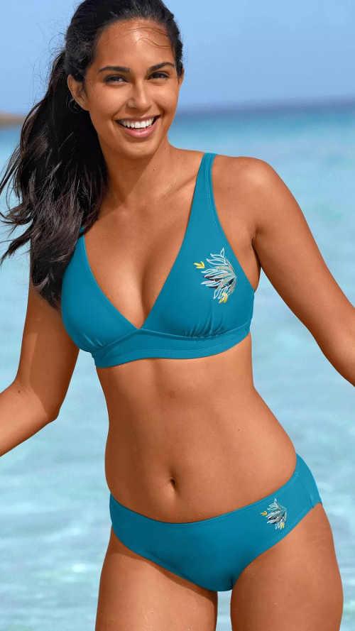 Wygodny niebieski dwuczęściowy kostium kąpielowy z haftem