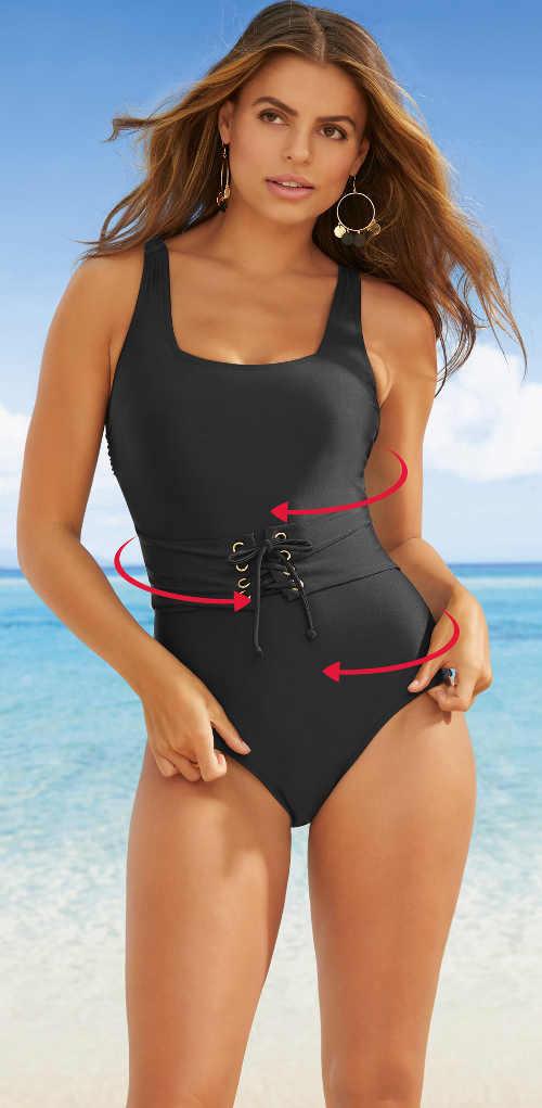 Czarny, jednoczęściowy kostium kąpielowy z wiązaną talią