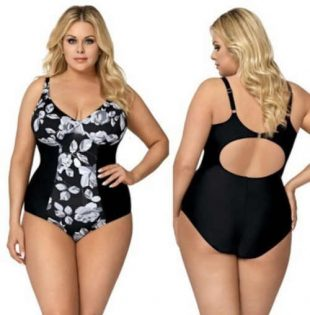 Luksusowy damski kostium kąpielowy z kwiatowym wzorem w czarno-białym zestawieniu